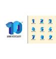 set anniversary logotype modern colorful vector image