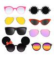 set colorful sunglasses vector image