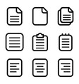 set document paper icons isolated on white vector image