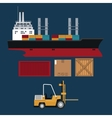 ship and forklift truck container boxes delivery vector image