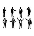 silhouette set businessman in action vector image