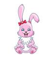 smiling rabbit cartoon girl beautiful bunny vector image vector image