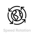 speed globe rotation flat icon editable line vector image vector image