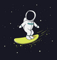 surfer astronaut flying on surfboard vector image