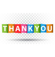 thank you colorful card flat on isolated vector image