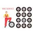 tire service poster worker vector image vector image