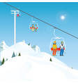 winter ski resort with skiers on a ski-lift vector image vector image