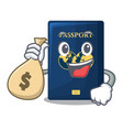 with money bag blue passport in the cartoon form vector image vector image