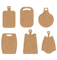 Wooden cutting board set Kitchen cutting board vector image vector image