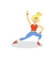 sportive young woman in sportswear working out in vector image