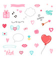 set of romantic elements gift hearts vector image