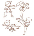 A simple drawing of the people doing martial arts vector image vector image
