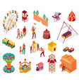amusement park isometric set vector image vector image