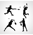 Badminton Players Silhouettes Set vector image vector image
