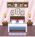 bedroom flat interior design room with bed vector image vector image