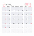 calendar april 2018 vector image vector image