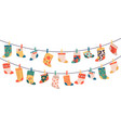 children socks hanging colorful drying cotton or vector image vector image