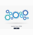 connected cogwheels digital marketing system vector image vector image