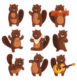 cute funny character beaver in different actions vector image