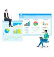 data analysis teamwork statistical analytics work vector image