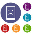dead phone icons set vector image vector image