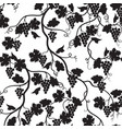 floral tiled pattern with grape branch silhouette vector image vector image