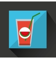 fresh juice watermelon and cup glass straw design vector image