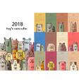 funny dogs calendar 2018 design vector image vector image