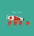 funny tomato ketchup and tomato friend forever vector image vector image