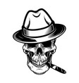 gentleman skull with cigar design element for vector image vector image