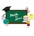girl standing near the blackboard vector image vector image