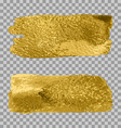 gold paint smear stroke stain set on transparent vector image vector image