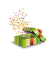 green gift box and confetti isolated on white vector image vector image