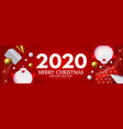 happy new 2020 year greetings with 3d santa claus vector image