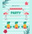 hawaiian nvitation with flamingo pineappletext vector image vector image