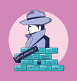 investigator with wall data privacy vector image vector image
