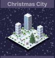 landscape snow covered isometric city vector image