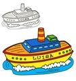 Motor ship Coloring book page vector image vector image