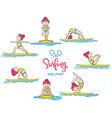 paddle board yoga poses set vector image