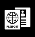 passport icon isolated on black background vector image vector image