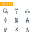 people outline icons set collection of jogging vector image vector image