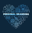 personal branding blue linear heart vector image
