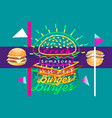 poster with burger pop art vector image