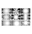 radial comic book speed line vignetting cover set vector image