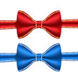 red and blue bow ties with golden frame stitching vector image
