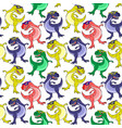 seamless pattern with colored dinosaurs vector image vector image