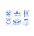 set of blue emblems for plumbing and construction vector image