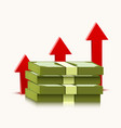 stack dollars with rising arrow isolated on vector image
