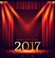 stage background with 2017 golden text and lights vector image vector image