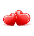 Two red glossy hearts vector | Price: 1 Credit (USD $1)